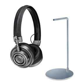 MH30 Foldable On-Ear Headphones with MP1000 Headphone Stand (Silver)