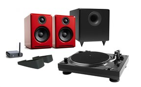 USB-1 Turntable Package With Audioengine A2+ Limited Edition Desktop Speakers (Red), S8 Subwoofer, B1 Bluetooth Receiver and DS1 Speaker Stands