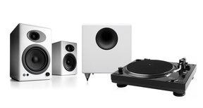 """USB-1 Turntable Package With Pair of Audioengine A5+ Bookshelf Speakers and S8 8"""" Subwoofer"""