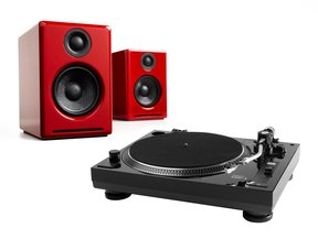 USB-1 Turntable with USB Output Turntable Package With Pair of Audioengine A2+ Premium Powered Desktop Speakers (Red)