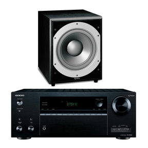 """TX-NR656 7.2 Channel A/V Wireless Network Receiver HDCP 2.2/HDR DTS & Bluetooth and Infinity Primus PS410 10"""" 300W Powered Subwoofer"""