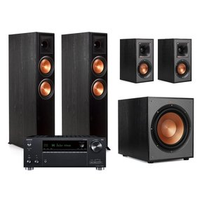 Onkyo TX-RZ630 9.2-Channel Receiver with Klipsch RP-6000F Floorstanding Speakers and R-41M Bookshelf Speakers (Black)