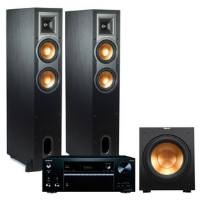 TXNR676 4K Multizone A/V Receiver with Klipsch R-26FA Dolby Atmos Floorstanding Speakers and Subwoofer (Black)