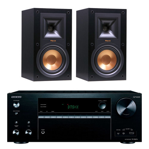 Onkyo TX-NR676 7.2 Channel Network A/V Home Theater Receiver (Black) + Klipsch Bookshelf Speakers
