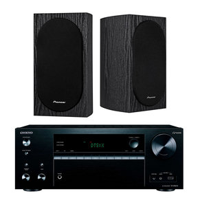 TXNR676 7.2-Channel Network A/V Receiver with Pioneer Bookshelf Speakers (Black)