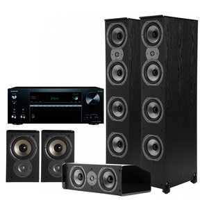 TXNR676 7.2-Channel Receiver with Polk 5.0 Home Theater Speaker Bundle (Black)