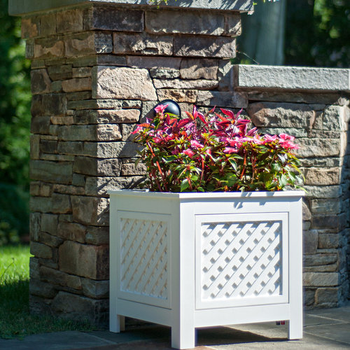 View Larger Image of AZEK North Salem Outdoor Planter Speakers with 90-Degree Sound - Pair (White)