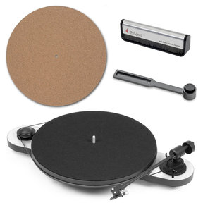Elemental Manual Turntable with Cork It Turntable Mat, Clean It Stylus Brush, and Brush It Carbon Fiber Record Brush (White and Black)
