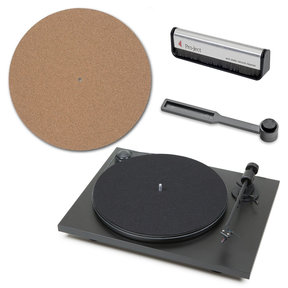 Primary Phono USB Audiophile Plug & Play Turntable with Cork It Turntable Mat, Clean It Stylus Brush, and Brush It Carbon Fiber Record Brush (Matte Black)