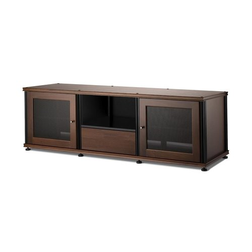 View Larger Image of Synergy 236 Triple AV Cabinet with 2 Doors & Media Drawer (Walnut/Black)