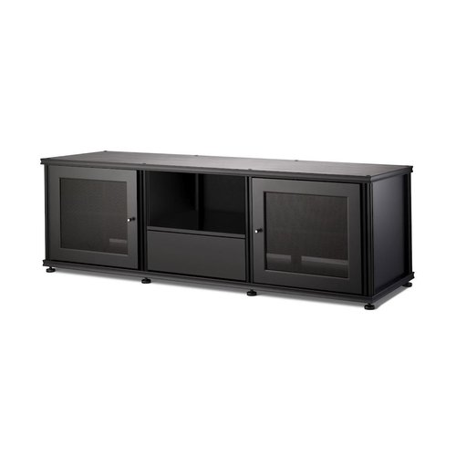 View Larger Image of Synergy 236 Triple Wide AV Cabinet with 2 Doors & Media Drawer (Black)