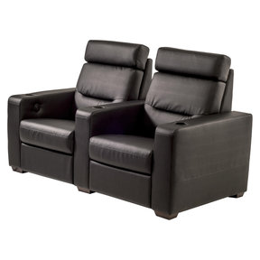 TC3 AV Basics 2-Seat Straight Motorized Recliner Home Theater Seating (Black Bonded Leather)