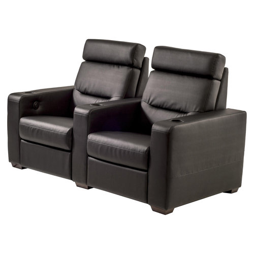 View Larger Image of TC3 AV Basics 2-Seat Straight Motorized Recliner Home Theater Seating (Black Bonded Leather)