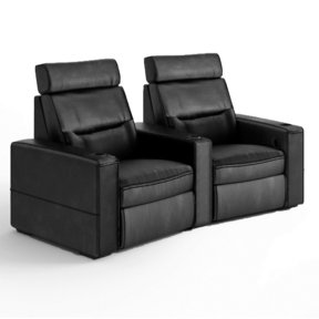 TC3 AV Basics 2-Seat Wedge Motorized Recliner Home Theater Seating (Black Bonded Leather)