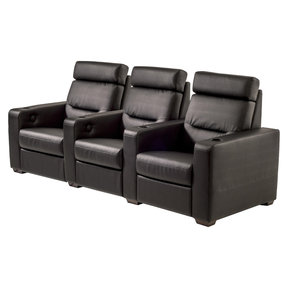 TC3 AV Basics 3-Seat Straight Motorized Recliner Home Theater Seating (Black Bonded Leather)