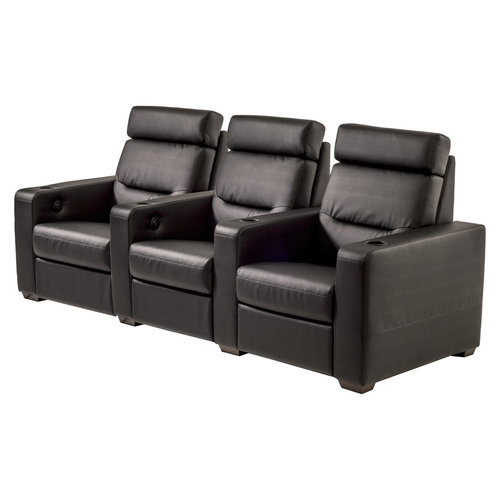 View Larger Image of TC3 AV Basics 3-Seat Straight Motorized Recliner Home Theater Seating (Black Bonded Leather)