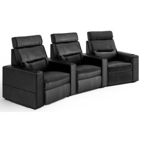 TC3 AV Basics 3-Seat Wedge Motorized Recliner Home Theater Seating (Black Bonded Leather)