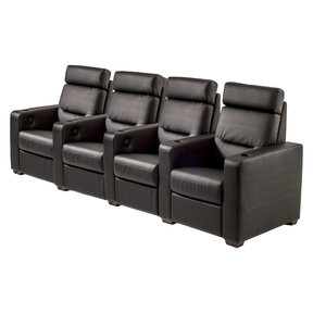 TC3 AV Basics 4-Seat Straight Motorized Recliner Home Theater Seating (Black Bonded Leather)