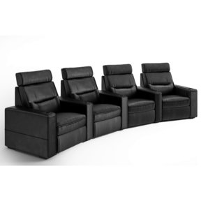 TC3 AV Basics 4-Seat Wedge Motorized Recliner Home Theater Seating (Black Bonded Leather)
