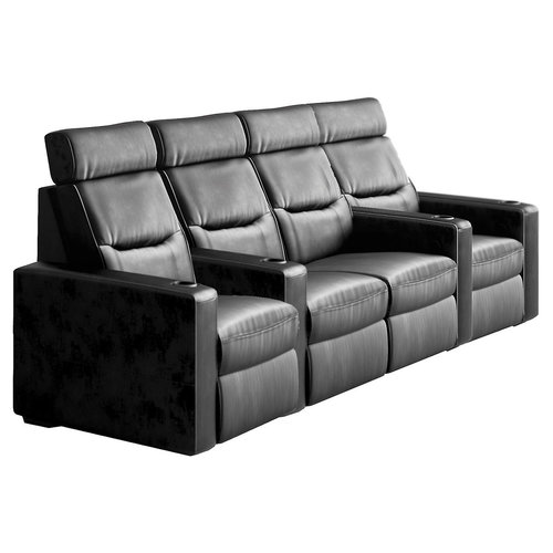 View Larger Image of TC3 AV Basics 4-Seat with Loveseat Straight Motorized Recliner Home Theater Seating (Black Bonded Leather)