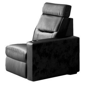 TC3 AV Basics Left-End Chair Motorized Recliner Home Theater Seating (Black Bonded Leather)