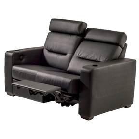 TC3 AV Basics Loveseat Motorized Recliner Home Theater Seating (Black Bonded Leather)