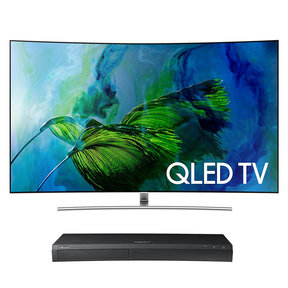 "QN55Q8C 55"" Curved 4K UHD HDR QLED Smart TV with UBD-M9500 4K Ultra HD Blu-ray Player"