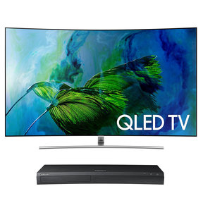 "QN75Q8C 75"" Curved 4K UHD HDR QLED Smart TV with UBD-M9500 4K Ultra HD Blu-ray Player"