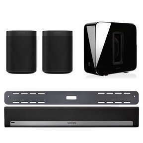 5.1 Home Theater Surround Set with Sonos One Gen 1 Voice-Controlled Smart Speakers, SUB Wireless Subwoofer, & PLAYBAR Wireless Sound Bar with Wall Mount Kit