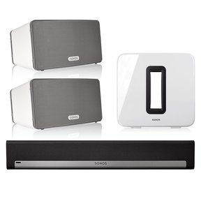 5.1 Home Theater Surround Set with Sonos Play:3 Wireless Smart Speakers, PLAYBAR Wireless Sound Bar, and SUB Wireless Subwoofer