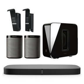 5.1 PLAYBASE Home Theater Digital Music System with Flexson Wall Mounts for PLAY:1