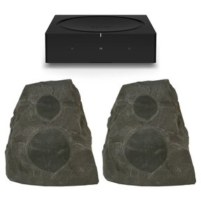AMP Wireless Hi-Fi Player (Black) with Klipsch AWR-650-SM All Weather 2-Way Speaker - Pair