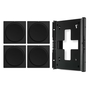 AMP Wireless Hi-Fi Players (4) with Flexson Wall Mount (Black)