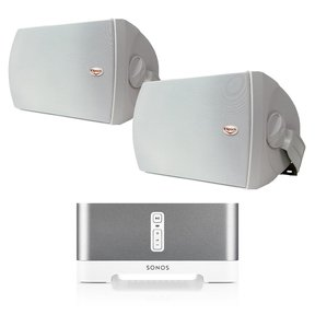 "CONNECT:AMP Wireless Hi-Fi Player (White) with Klipsch AW-650 6.5"" Reference Series Outdoor Loudspeaker - Pair (White)"