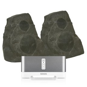 CONNECT:AMP Wireless Hi-Fi Player (White) with Klipsch AWR-650-SM All Weather 2-Way Speaker - Pair