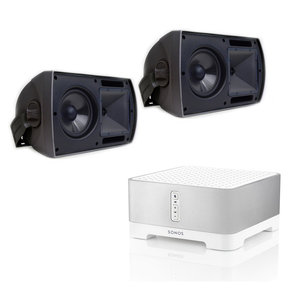 "CONNECT:AMP Wireless Hi-Fi Player with Klipsch AW-650 6.5"" Reference Series Outdoor Loudspeakers - Pair (Black)"