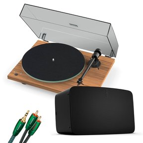 Five Wireless Speaker for Streaming Music (Black) with Pro-Ject T1 Reference Turntable (Walnut)