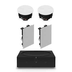 In-Ceiling Speaker Pair with Sonos In-Wall Speaker Pair and Sonos Amp Wireless Hi-Fi Player