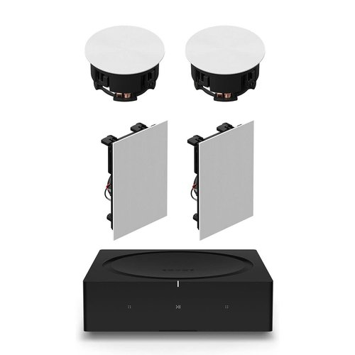 View Larger Image of In-Ceiling Speaker Pair with Sonos In-Wall Speaker Pair and Sonos Amp Wireless Hi-Fi Player
