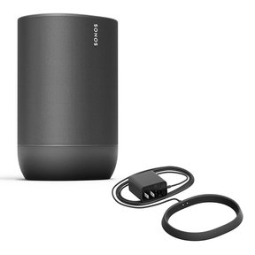 Move Durable, Battery-Powered Smart Speaker with Charging Base (Black)