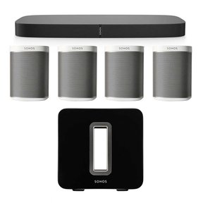 Multi-Room Digital Music Package featuring PLAYBASE, SUB Wireless Subwoofer and 4 PLAY:1s