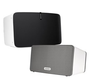 Multi-Room Digital Music System Bundle with PLAY:5 and PLAY:3 Speakers (White)