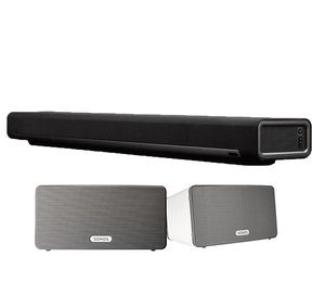 Multi-Room Digital Music System Bundle with PLAYBAR and PLAY:3 Speakers