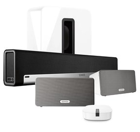 Multi-Room Digital Music System Bundle with PLAYBAR, PLAY:3 Speakers, SUB, and BOOST