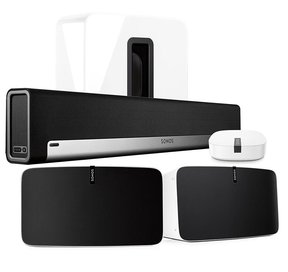 5.1 Home Theater Surround Set with Sonos Play:5 Wireless Smart Speakers, PLAYBAR Wireless Sound Bar, SUB Wireless Subwoofer, & BOOST Enterprise Grade Wireless Adapter