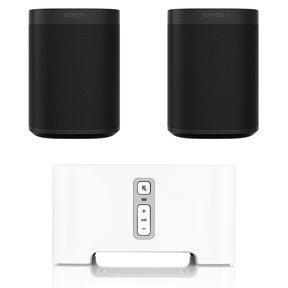 Two Room Set with Sonos One Voice-Controlled Smart Speakers & CONNECT Wireless Hi-Fi Player
