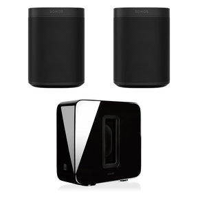 Two Room Set with Sonos One Gen 1 Voice-Controlled Smart Speakers & SUB Wireless Subwoofer