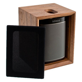 PLAY:1 All-In-One Compact Wireless Music Streaming Speaker (Black) with Leon ToneCase Hardwood Cabinet