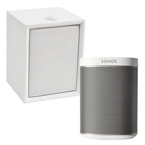 PLAY:1 All-In-One Compact Wireless Music Streaming Speaker (White) with Leon ToneCase Hardwood Cabinet