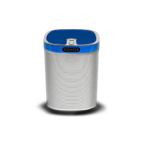 Play:1 All-In-One Wireless Music Streaming Speaker (White) with Flexson ColourPlay Skin (Blue)